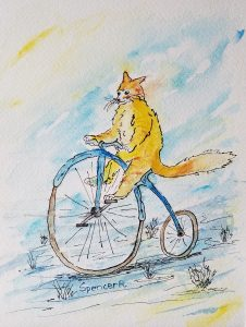 Kitty Fox Riding a Penny-farthing