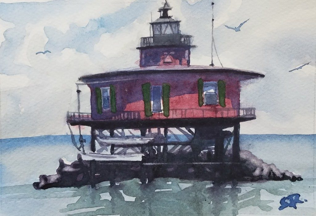 Seven Foot Knoll Lighthouse Watercolor Painting